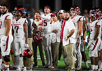 NWA Democrat-Gazette/CHARLIE KAIJO Arkansas Razorbacks head coach Chad Morris and quarterback Cole Kelley (15) watch a play review for a Kelley touchdown ruled incomplete during the third quarter of a football game, Saturday, September 8, 2018 at Colorado State University in Fort Collins, Colo.