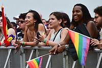 Washington, DC - June 9, 2019: Thousands of people gathered along Pennsylvania Ave. in Washington, DC for the Capital Pride concert June 9, 2019. Harmon became widely known as a contestant on American Idol season 17. (Photo by Don Baxter/Media Images International)