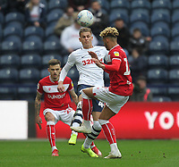 Preston North End's Brad Potts battles with  Bristol City's Lloyd Kelly<br /> <br /> Photographer Mick Walker/CameraSport<br /> <br /> The EFL Sky Bet Championship - Preston North End v Bristol City - Saturday 2nd March 2019 - Deepdale Stadium - Preston<br /> <br /> World Copyright © 2019 CameraSport. All rights reserved. 43 Linden Ave. Countesthorpe. Leicester. England. LE8 5PG - Tel: +44 (0) 116 277 4147 - admin@camerasport.com - www.camerasport.com