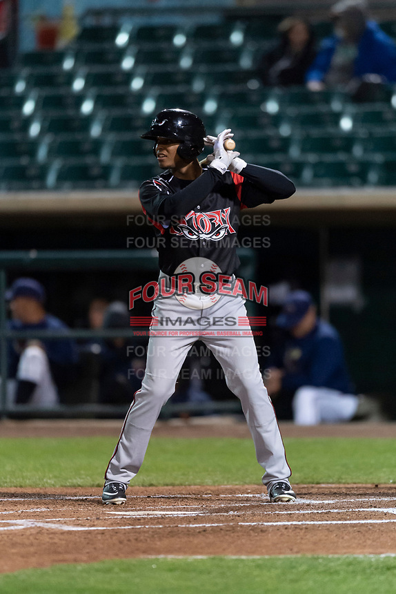 Lake Elsinore Storm center fielder Jeisson Rosario (6) during a California League game against the Lancaster JetHawks on April 10, 2019 at The Hanger in Lancaster, California. Lancaster defeated Lake Elsinore 8-5 in the second game of a doubleheader. (Zachary Lucy/Four Seam Images)