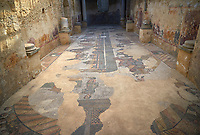 Wide picture of the Roman mosaics of Circus Maximus from the Palaestra depicting a chariot race at the Circus Maximus, room no 15 at the Villa Romana del Casale, first quarter of the 4th century AD. Sicily, Italy. A UNESCO World Heritage Site.<br /> <br /> The room of the  Circus Maximus was used as an excersise room and the rooms to the baths of the Villa Romana del Casale run off this room.