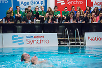 Picture by Allan McKenzie/SWpix.com - 25/11/2017 - Swimming - Swim England Synchronised Swimming National Age Group Championships 2017 - GL1 Leisure Centre, Gloucester, England - Madeleine Staples & Rebecca Saunders, Swim England, Synchro, branding, judges.