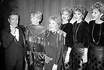Jerry Herman, Ellen Burstyn, Sally Struthers and the Maguire Sisters attending a Charity Benefit performance at THE MET in Lincoln Center, New York City.<br />December 1985