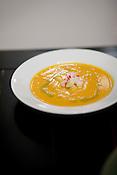 Butternut squash soup, part of the all-vegan dinner.
