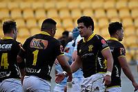 Du'Plessis Kirifi of Wellington celebrates a try during the Mitre 10 Cup - Wellington v Norrhland at Westpac Stadium, Wellington, New Zealand on Saturday 28 September 2019. <br /> Photo by Masanori Udagawa. <br /> www.photowellington.photoshelter.com