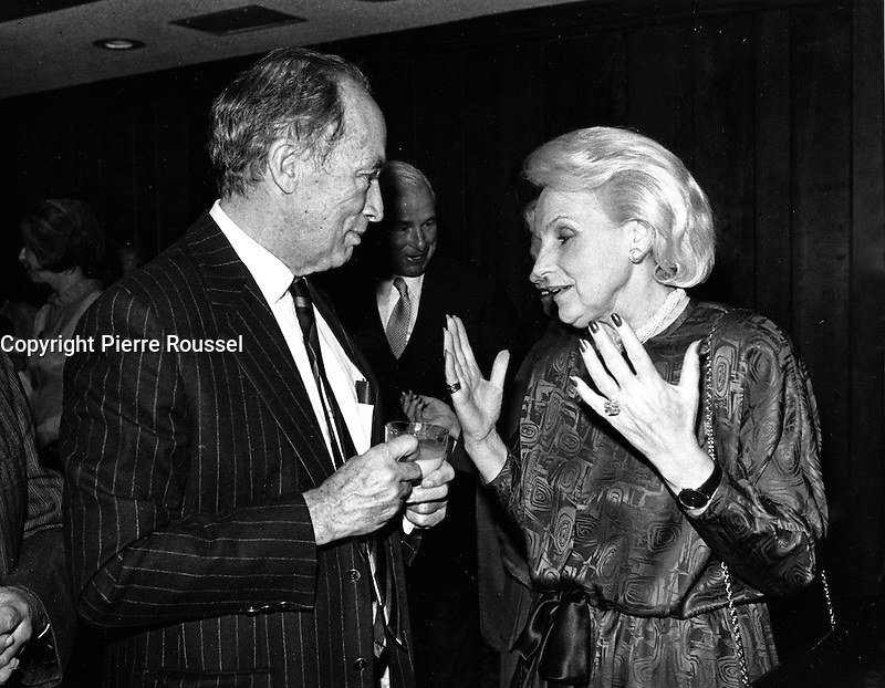 Montreal (Qc) CANADA - Dec 1986 File Photo - Pierre Trudeau , Jeanne Sauve
