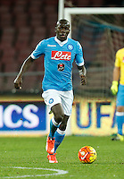 Napoli's Kalidou Koulibaly controls the ball during the  italian serie a soccer match,between SSC Napoli and Torino      at  the San  Paolo   stadium in Naples  Italy , January 07, 2016