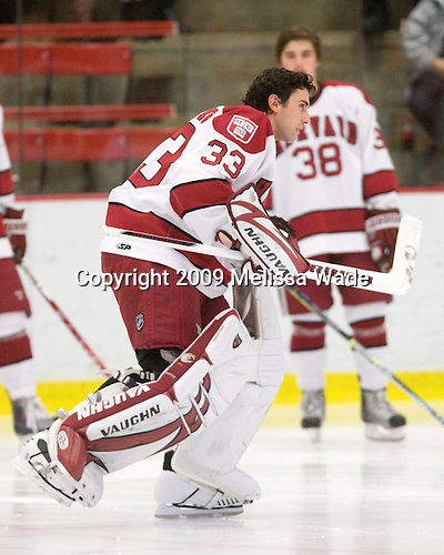 Kyle Richter (Harvard - 33) - The Boston University Terriers defeated the Harvard University Crimson 6-5 in overtime on Tuesday, November 24, 2009, at Bright Hockey Center in Cambridge, Massachusetts.