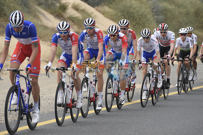 The peloton including Groupama-FDJ during Stage 4 of the 2019 UAE Tour, running 197km form The Pointe Palm Jumeirah to Hatta Dam, Dubai, United Arab Emirates. 26th February 2019.<br /> Picture: LaPresse/Fabio Ferrari | Cyclefile<br /> <br /> <br /> All photos usage must carry mandatory copyright credit (© Cyclefile | LaPresse/Fabio Ferrari)