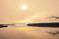 Skeena River in morning fog, Near Prince Rupert, British Columbia, Canada