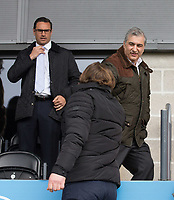 Barnet Chairman Tony Kleanthous shakes hands with Wycombe Wanderers Manager Gareth Ainsworth as Barnet Head of Football James Thorne stands in the background during the Sky Bet League 2 match between Barnet and Wycombe Wanderers at The Hive, London, England on 17 April 2017. Photo by Andy Rowland.