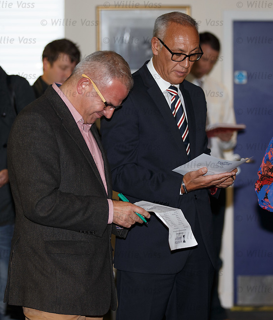 "Iain King of Airdrie and Mark Hateley of Rangers thinking ""surely not"" as the draw pairs them together"