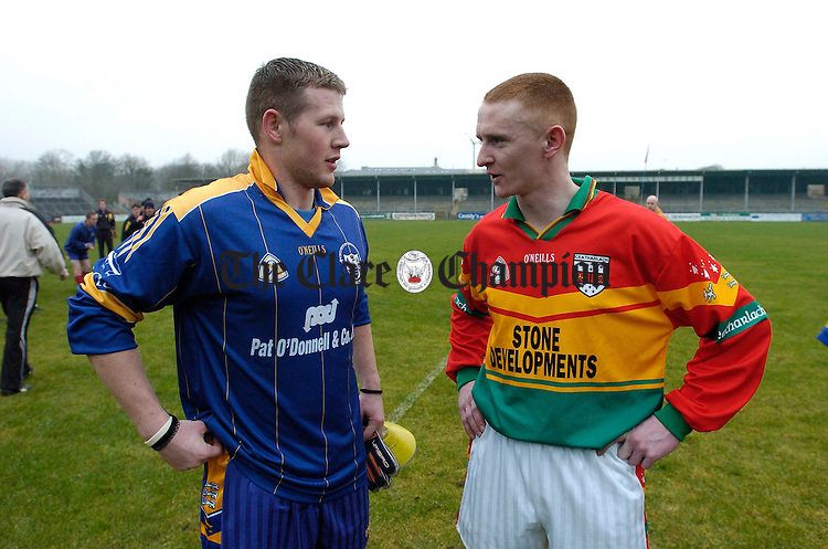 Contesting Cousins..............Clare Goalie Dermot O Brien and Carlow corner foward Brian Kelly meet following their NFL encounter at Cusack Park. Both Dermot's father, John and Brian's mother Maureen, come from Mullagh. Photograph by John Kelly.