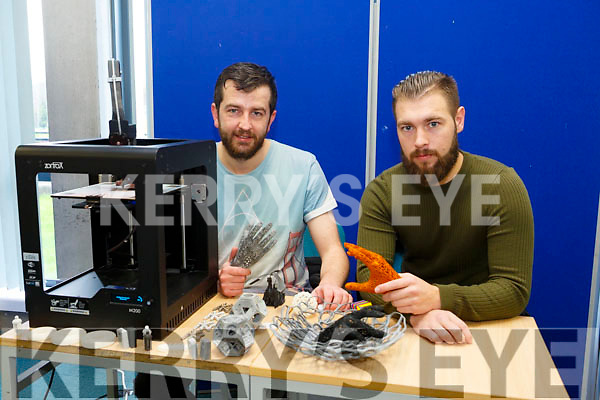 At the IT Tralee Kerry Science Festival on Saturday were Richard Curtin and Daniel Barrett from Wazp 3D printing