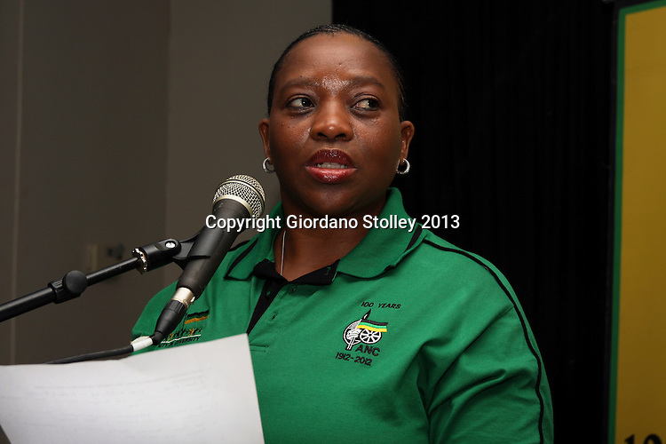 DURBAN - 8 March 2013 - Nomusa Dube, the KwaZulu-Natal MEC for cooperatve governance and traditional affairs speaks at an African National Congress press conference on local government in Durban. She is the party's deputy secretary. Picture: Giordano Stolley/Allied Picture Press/APP