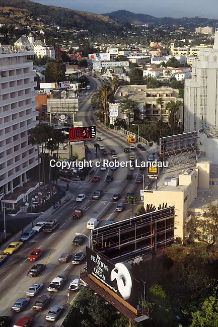 Aerial view of the Sunset Strip in West Hollywood, CA circa 1990s