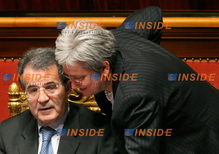 Roma, 19-05- 2006  Senato:Votazione per la Fiducia<br /> Nella foto il presidente del Consiglio Romano Prodi e il ministro per la Famiglia Rosi Bindi<br /> Photo Serena Cremaschi Insidefoto