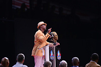 Canton, OH - August 4, 2018: Former NFL safety  Brian Dawkins gives thanks to God as he delivers his Pro Football Hall of Fame enshrinement speech at the Tom Benson Hall of Fame Stadium, August 4, 2018, in Canton, Ohio. Dawkins played with the Philadelphia Eagles from 19962008 and the Denver Broncos from20092011. (Photo by Don Baxter/Media Images International)