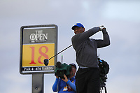 Tiger Woods (USA) on the 18th tee during 1st round of the 148th Open Championship, Royal Portrush golf club, Portrush, Antrim, Northern Ireland. 18/07/2019.<br /> Picture Thos Caffrey / Golffile.ie<br /> <br /> All photo usage must carry mandatory copyright credit (© Golffile | Thos Caffrey)