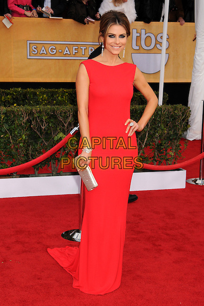 Maria Menounos.Arrivals at the 19th Annual Screen Actors Guild Awards at the Shrine Auditorium in Los Angeles, California, USA..27th January 2013.SAG SAGs full length red dress train silver clutch bag hand on hip.CAP/ADM/BP.©Byron Purvis/AdMedia/Capital Pictures