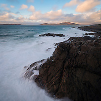 Stormy sea washes across rocky coastline, near Scarista, Isle of Harris, Scotland