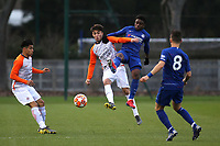 Tariq Lamptey of Chelsea challenges for the ball during Chelsea Under-19 vs Montpellier HSC Under-19, UEFA Youth League Football at the Cobham Training Ground on 13th March 2019