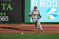 Louisville Cardinals outfielder Ryan Summers (33) fields a ball hit off the wall during a game against the Ball State Cardinals on February 19, 2017 at Spectrum Field in Clearwater, Florida.  Louisville defeated Ball State 10-4.  (Mike Janes/Four Seam Images)