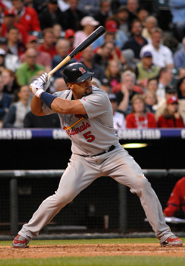 St. Louis Cardinals 1st baseman Albert Pujols during a game against the Colorado Rockies at Coors Field in Denver, Colorado on May 6, 2008.