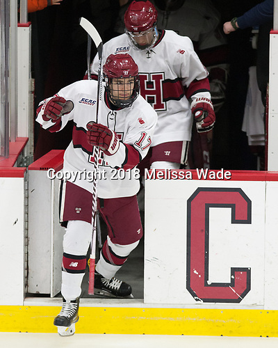 Ty Pelton-Byce (Harvard - 17) - The visiting Colgate University Raiders shut out the Harvard University Crimson for a 2-0 win on Saturday, January 27, 2018, at Bright-Landry Hockey Center in Boston, Massachusetts.The visiting Colgate University Raiders shut out the Harvard University Crimson for a 2-0 win on Saturday, January 27, 2018, at Bright-Landry Hockey Center in Boston, Massachusetts.
