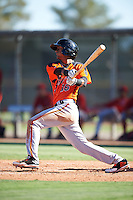 San Francisco Giants Jose Layer (16) during an Instructional League game against the Los Angeles Angels of Anaheim on October 13, 2016 at the Tempe Diablo Stadium Complex in Tempe, Arizona.  (Mike Janes/Four Seam Images)