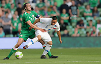 Dublin, Ireland - Saturday June 02, 2018: John O'Shea, Bobby Wood during an international friendly match between the men's national teams of the United States (USA) and Republic of Ireland (IRE) at Aviva Stadium.