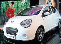 Geely Panda at the Auto China 2008 in Beijing. The car show has attracted all the world's major auto markers. Vehicle production and sales both surged more than 20 percent to a record 8.8 million units in China last year. Analysts forecast that both China's auto output and sales will continue to expand at double-digit rates in 2008 to 10 million as the economy grows rapidly and the government tries to encourage people to spend money..24 Apr 2008
