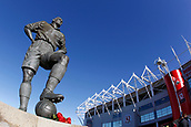 5th November 2017, Riverside Stadium, Middlesbrough, England; EFL Championship football, Middlesbrough versus Sunderland; Statue of Middlesbrough legend George Hardwick in bright sunlight outside the Riverside Stadium