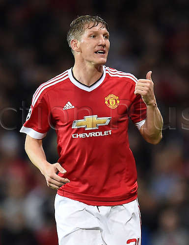 30.09.2015. Manchester, England. UEFA Champions League Group B first leg soccer match between Manchester United and VfL Wolfsburg at the Old Trafford in Manchester.  Bastian Schweinsteiger (Manchester United FC)