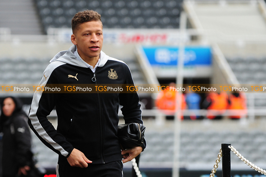 Dwight Gayle of Newcastle United arrives at St James' Park  during Newcastle United vs Barnsley, Sky Bet EFL Championship Football at St. James' Park on 7th May 2017