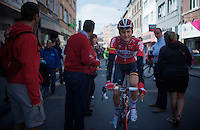 A confident Tim Wellens (BEL/Lotto-Soudal) before the start. He is very familiar with todays roads and very eager to show himself.<br /> <br /> 79th Flèche Wallonne 2015