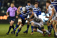 Dave Attwood of Bath Rugby takes on the Gloucester Rugby defence. Premiership Rugby Cup match, between Bath Rugby and Gloucester Rugby on February 3, 2019 at the Recreation Ground in Bath, England. Photo by: Patrick Khachfe / Onside Images
