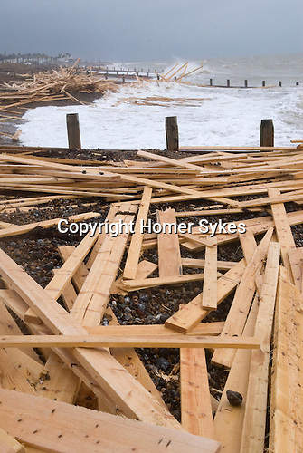 "The beach at Worthing West Sussex England. Planks of wood from the freighter the ""Ice Prince"" which sank in rough weather on January 15th"