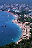 Aerial of vacation village of Budva Montenegro