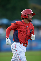 Williamsport Crosscutters shortstop Jonathan Guzman (6) runs to first base during a game against the Mahoning Valley Scrappers on August 28, 2018 at BB&T Ballpark in Williamsport, Pennsylvania.  Williamsport defeated Mahoning Valley 8-0.  (Mike Janes/Four Seam Images)