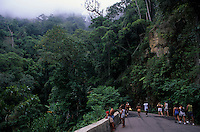 People walk at Estrada das Paineiras ( Paineiras Road ) in The Tijuca Forest ( Floresta da Tijuca in Portuguese ), a mountainous hand-planted rainforest in the city of Rio de Janeiro, Brazil - it is an UNESCO World Heritage Site and the world's largest urban forest, covering some 32 km² (12.4 mi²) - The Tijuca Forest is home to hundreds of species of plants and wildlife, many threatened by extinction, and found only in the Atlantic Rainforest (Mata Atlantica in Portuguese). The vegetation is so dense that scientists have estimated that ambient temperatures in surrounding areas have been lowered by up to 9 °C.
