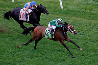 LOUISVILLE, KY - MAY 05: Green Mask #12, ridden by Javier Castellano, overtakes Latent Revenge #11, ridden by Rafael Bejarano, to win the Twin Spires Turf Sprint on Kentucky Oaks Day at Churchill Downs on May 5, 2017 in Louisville, Kentucky. (Photo by Jon Durr/Eclipse Sportswire/Getty Images)