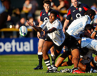 Photo: Richard Lane/Richard Lane Photography.England U20 v Fiji U20. IRB U20 World Championships. 05/06/2008. Fiji's Seru Qaranivalu passes.