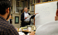 Richard Noble of Brown University teaches a class on codicology at the Rare Book School summer camp held at the University of Virginia in Charlottesville, Va. The annual camp hosts scholars and other professionals who work with rare books. Photo/Andrew Shurtleff