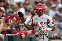 Arkansas Razorbacks outfielder Christian Franklin (25) during Game 5 of the NCAA College World Series against the Texas Tech Red Raiders on June 17, 2019 at TD Ameritrade Park in Omaha, Nebraska. Texas Tech defeated Arkansas 5-4. (Andrew Woolley/Four Seam Images)