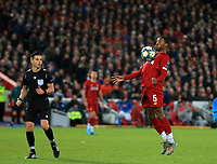 27th November 2019; Anfield, Liverpool, Merseyside, England; UEFA Champions League Football, Liverpool versus SSC Napoli ; Georginio Wijnaldum of Liverpool controls the ball with his chest before shooting at goal - Editorial Use