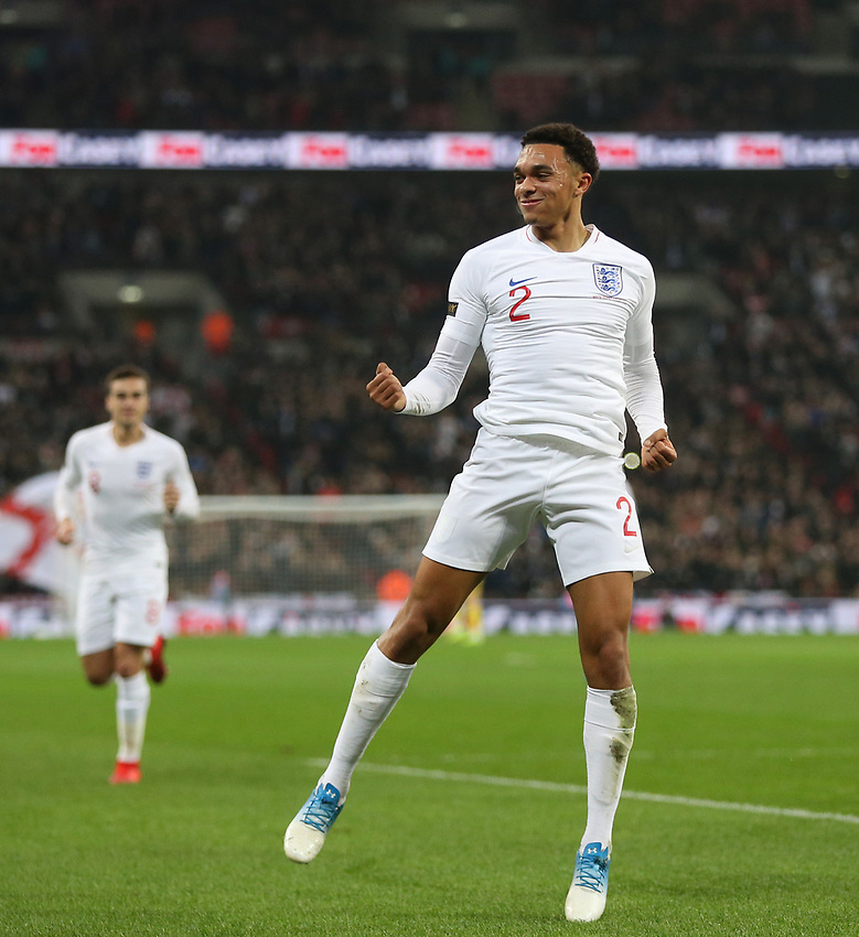 England's Trent Alexander-Arnold celebrates scoring his side's second goal <br /> <br /> Photographer Rob Newell/CameraSport<br /> <br /> The Wayne Rooney Foundation International - England v United States - Thursday 15th November 2018 - Wembley Stadium - London<br /> <br /> World Copyright © 2018 CameraSport. All rights reserved. 43 Linden Ave. Countesthorpe. Leicester. England. LE8 5PG - Tel: +44 (0) 116 277 4147 - admin@camerasport.com - www.camerasport.com