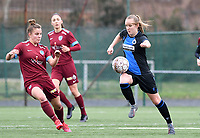 20200208 – BRUGGE, BELGIUM : Genk's Karlijn Knapen  pictured in a duel with Club Brugge's Elle Decorte during a women soccer game between Dames Club Brugge and KRC Genk Ladies on the 15 th matchday of the Belgian Superleague season 2019-2020 , the Belgian women's football  top division , saturday 08 th February 2020 at the Jan Breydelstadium – terrain 4  in Brugge  , Belgium  .  PHOTO SPORTPIX.BE | DAVID CATRY
