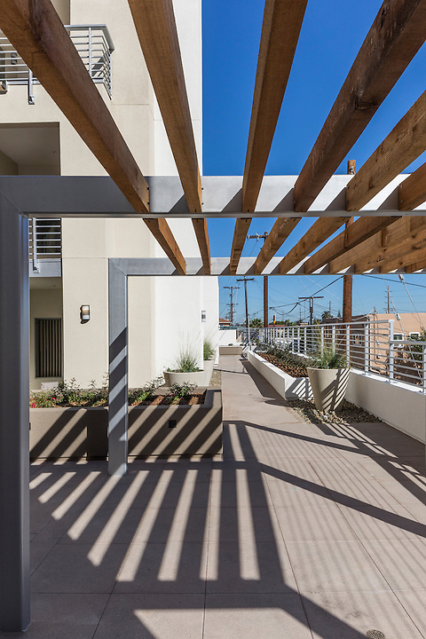 Architect Carlos Rodriguez brought a sense of rhythm to the Iowa Street Senior Center in San Diego. His treatment of fenestration and use of repeated pattern allows a playful distribution of mass and gives the project a stylish presence.