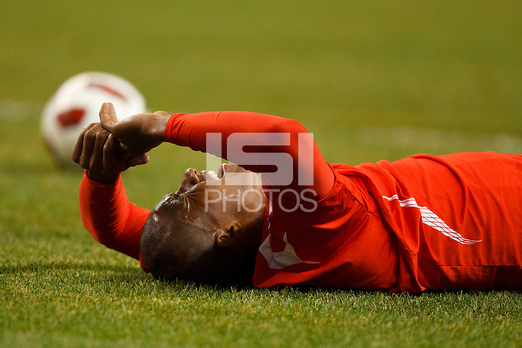 Panama forward Luis Rentería (16) lays on the pitch in pain during the CONCACAF soccer match between Panama and Guadeloupe at Ford Field Detroit, Michigan.